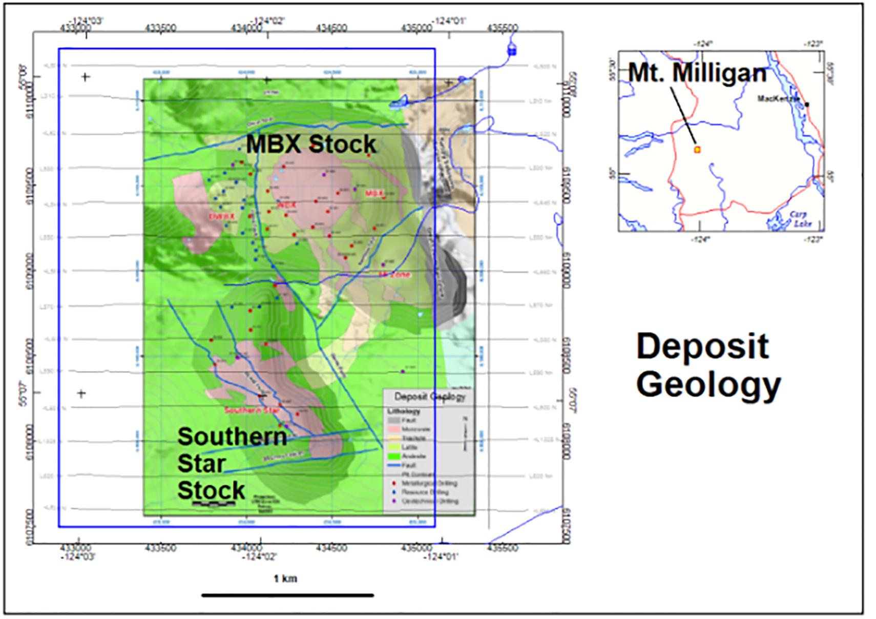 Figure 3: Mt. Milligan geology.