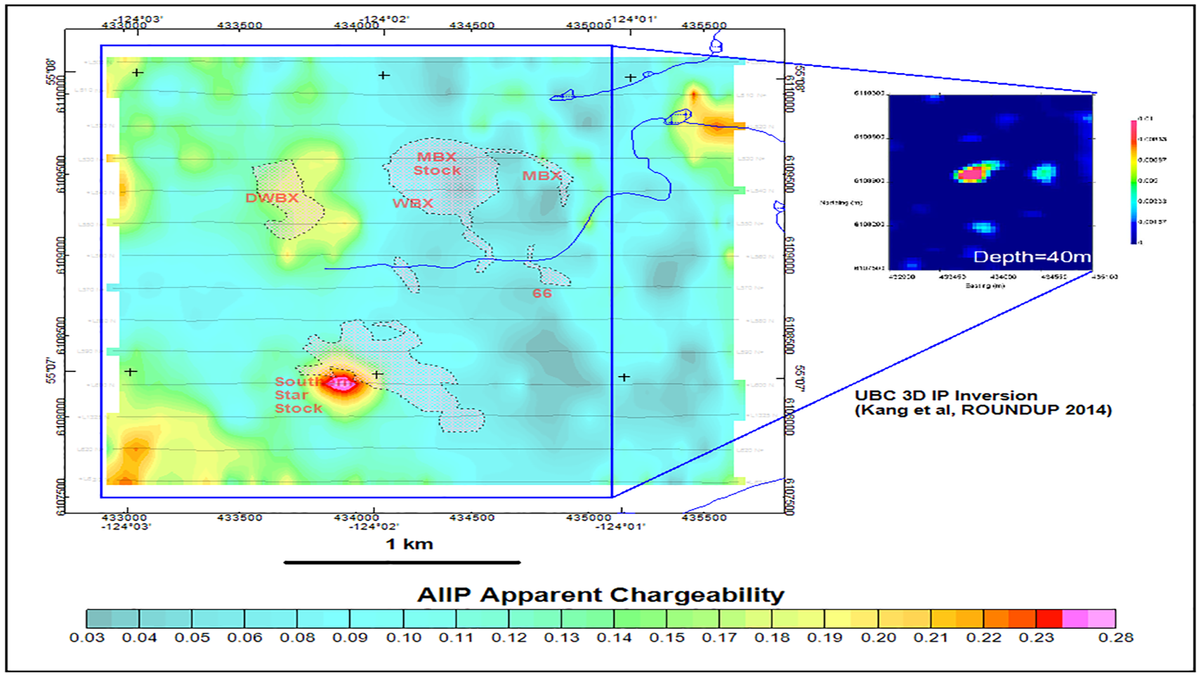 Figure 4: Mt. Milligan AIIP apparent chargeability.