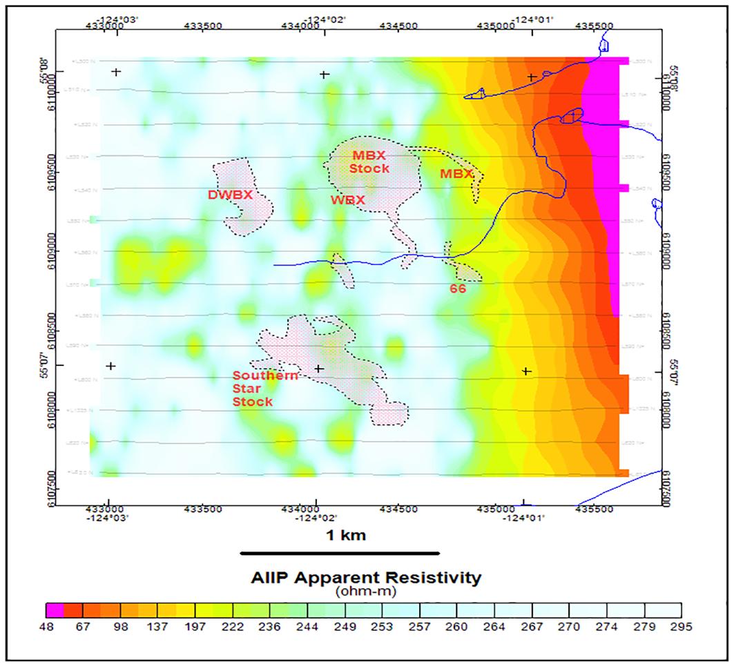 Figure 5: Mt. Milligan AIIP apparent resistivity, displayed in equal-area colour scheme.