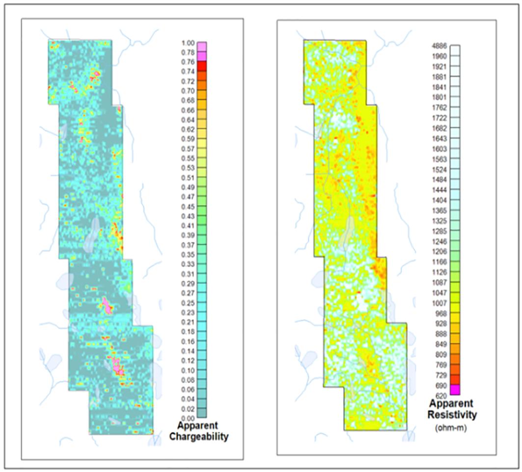Figure 8: AIIP™ apparent chargeability and resistivity, Tullah, Tasmania.