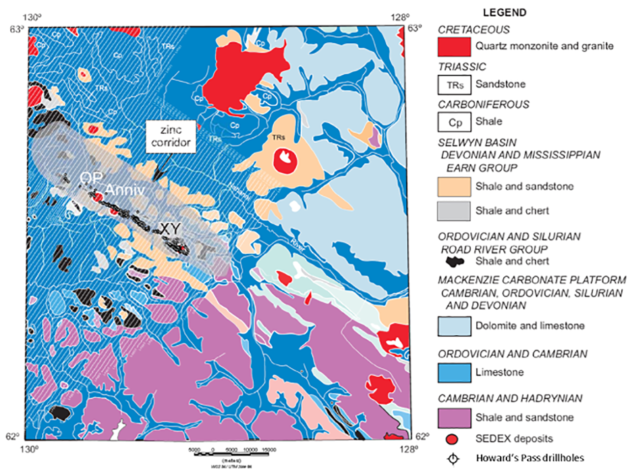 Figure 1:  Howard's Pass geology (after Goodfellow, 2007) with AEM flight lines (white) and drillholes at Howard's Pass.