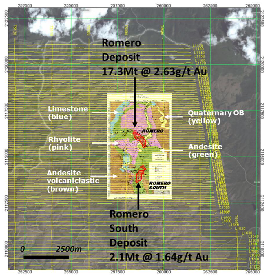 Figure 1. Geology map overlay of Romero, showing gold deposits (after Hennessey et al., 2014), and AEM-magnetic survey lines over satellite image of current study area.
