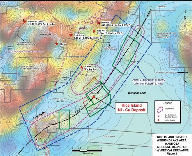 Rice Lake Project Wekusko Lake Area - Manitoba - VTEM airborne magnetics survey - 1st vertical derivative