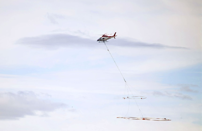 "Geotech helicopter flying a VTEM survey in Sweden. ""Our main objective was to identify a conductive body to prove that VTEM works, so to not only prove this but to also confirm mineralisation with our first drill holes into our first conductor is a pleasing bonus."""