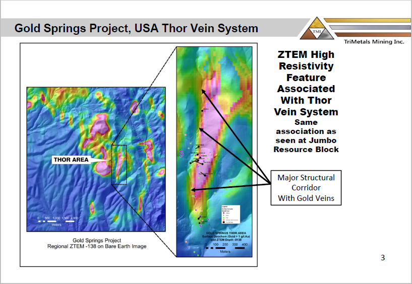 TriMetals Thor site Gold Springs project