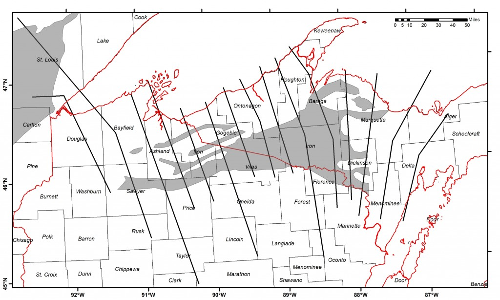 Map of upcoming USGS AEM study area in relation to state and county borders. The thick black lines are the intended flight profiles, and the shaded grey regions show the mapped extent of rocks deposited some 1.8 billion years ago. Mapping the subsurface geometry and distribution of these rocks is the primary goal of this survey.