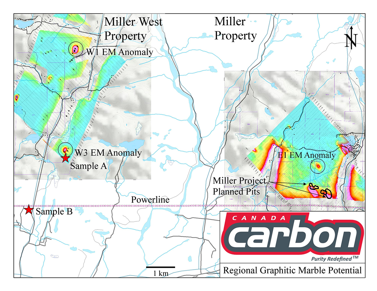 Miller and Miller West Property - Canada Carbon - Regional Graphitic Marble Potential - VTEM anamolies