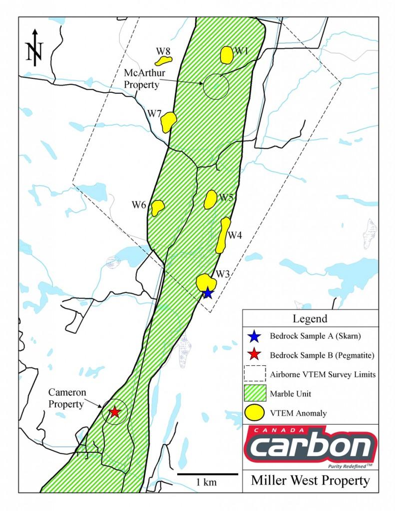 Miller West Property - Canada Carbon - graphite deposit - VTEM anamolies