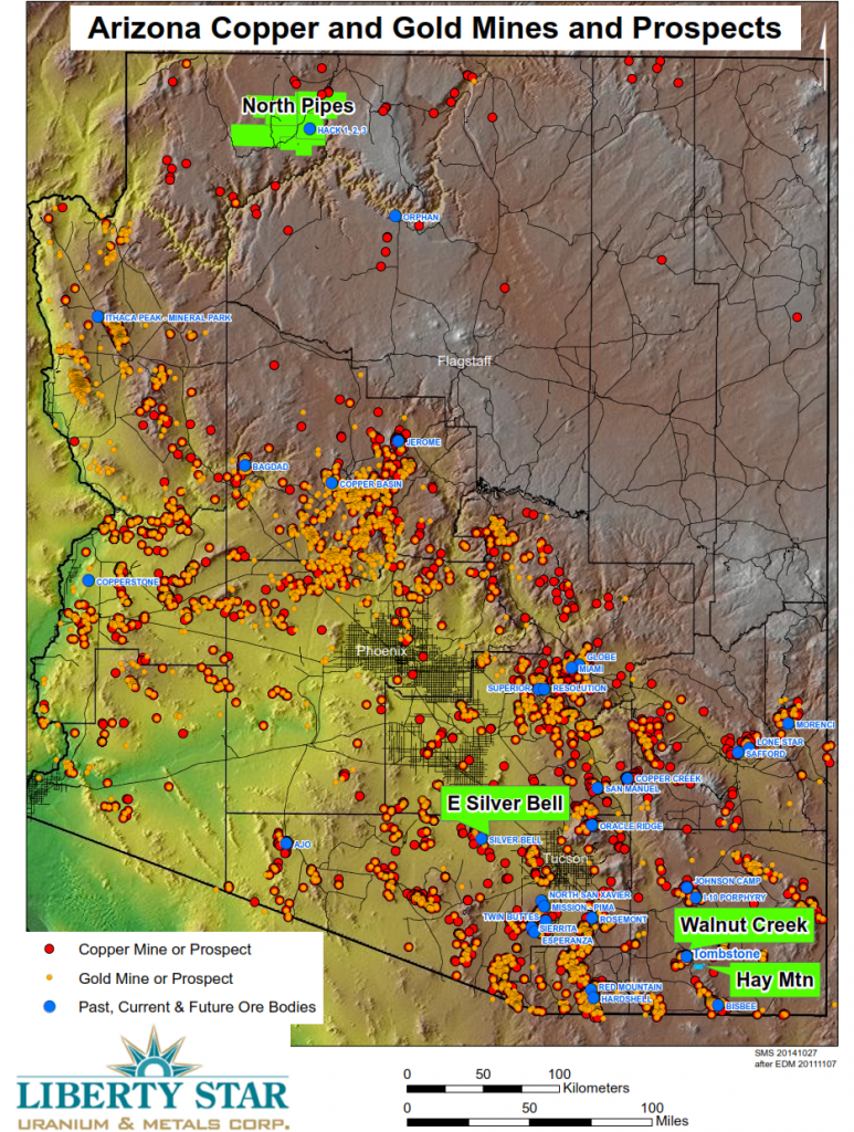 Arizona Copper and Gold Mines and Prospects - Liberty Star - Hay Mountain