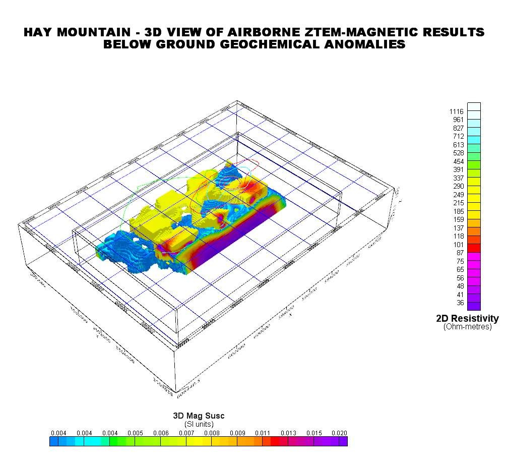 Hay Mountain - 3D View of Airborne ZTEM-Magnetic Results Below Ground Geochemical Anomalies - Northwest