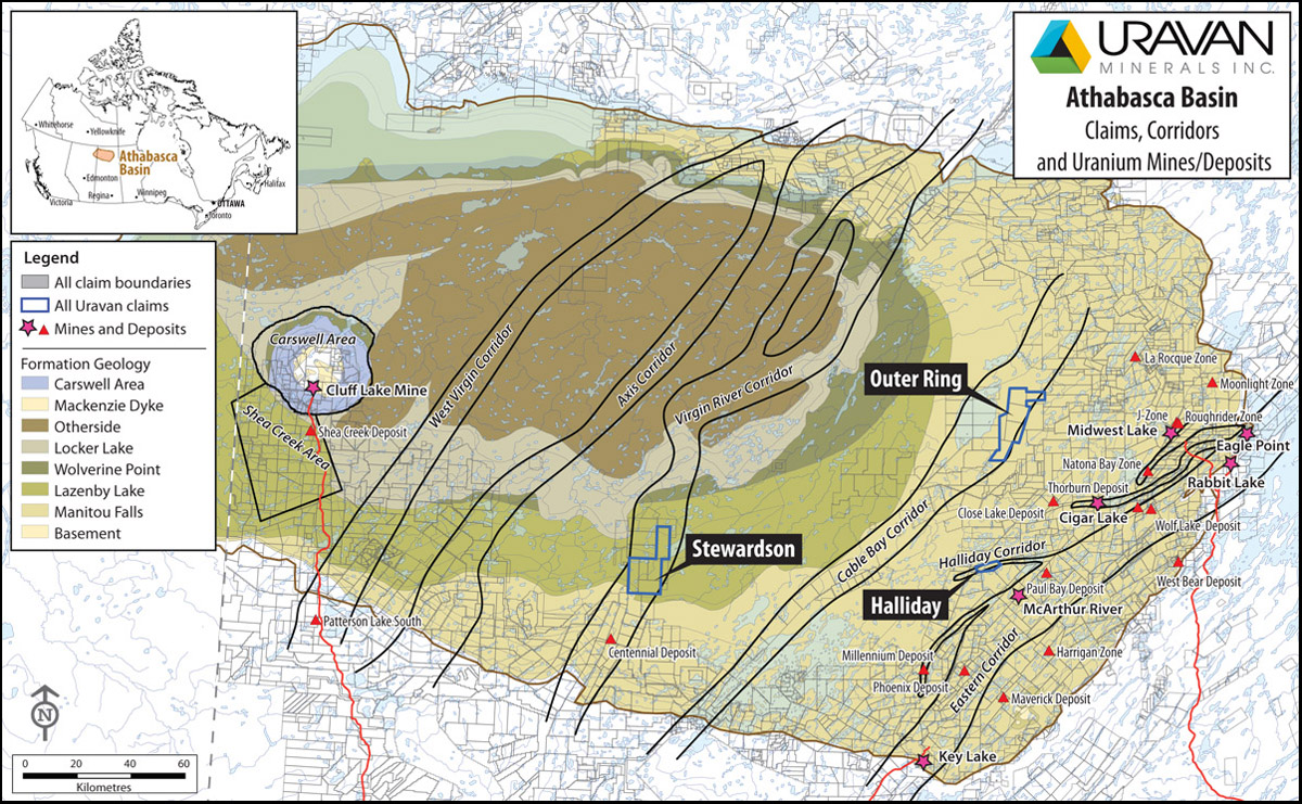 Uravan Minerals Inc. Athabasca Basin: Claims, corridors, and Uranium Mines/Deposits