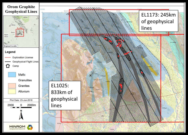 Consolidated Africa Limited - OROM Graphite Roject - - Geophysical Lines, Current License Areas and License Application Area