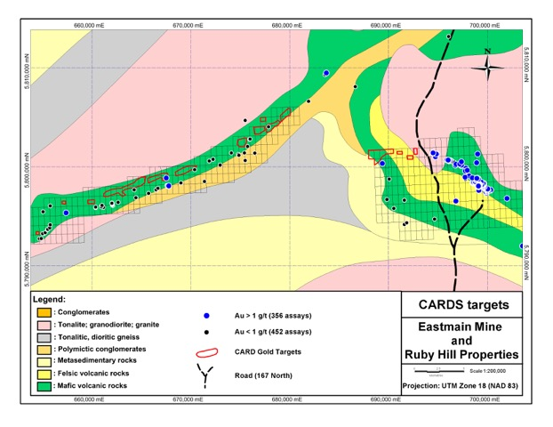 Eastmain Resources James Bay Quebec Cards targets - Eastmain Mine and Ruby Hill Properties