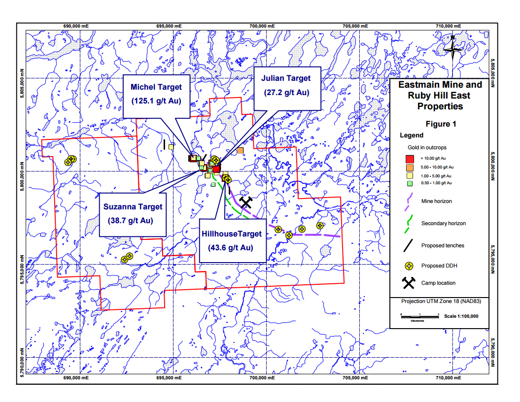 Eastmain Resources James Bay Quebec Eastmain Mine and Ruby Hill East Properties