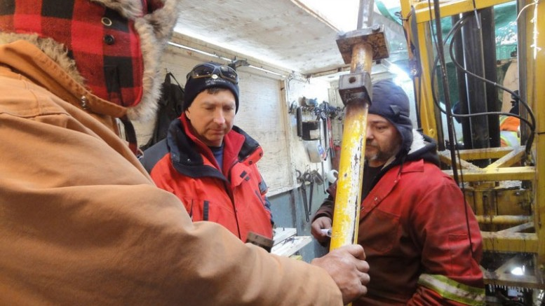 Touring the drill at Goldeye Explorations' Weebigee project. Credit: Goldeye Explorations.