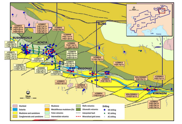 – Location of Liranda Corridor shown on inset; image shows current geological interpretation for Liranda Corridor, interpreted surface trace of gold zones and the location of diamond core holes drilled by Acacia in 2015-2016 with selected significant intersections. Bushiangala and Acacia prospects are located on left side of image.