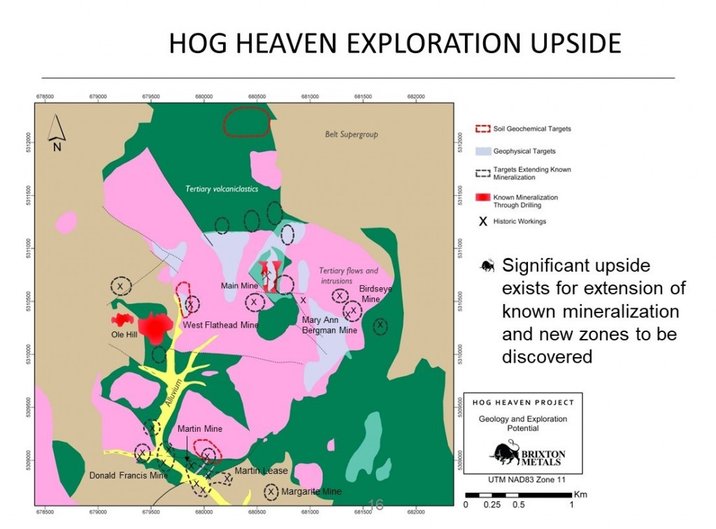 Property Wide Exploration Upside and Historic Workings Locations Map