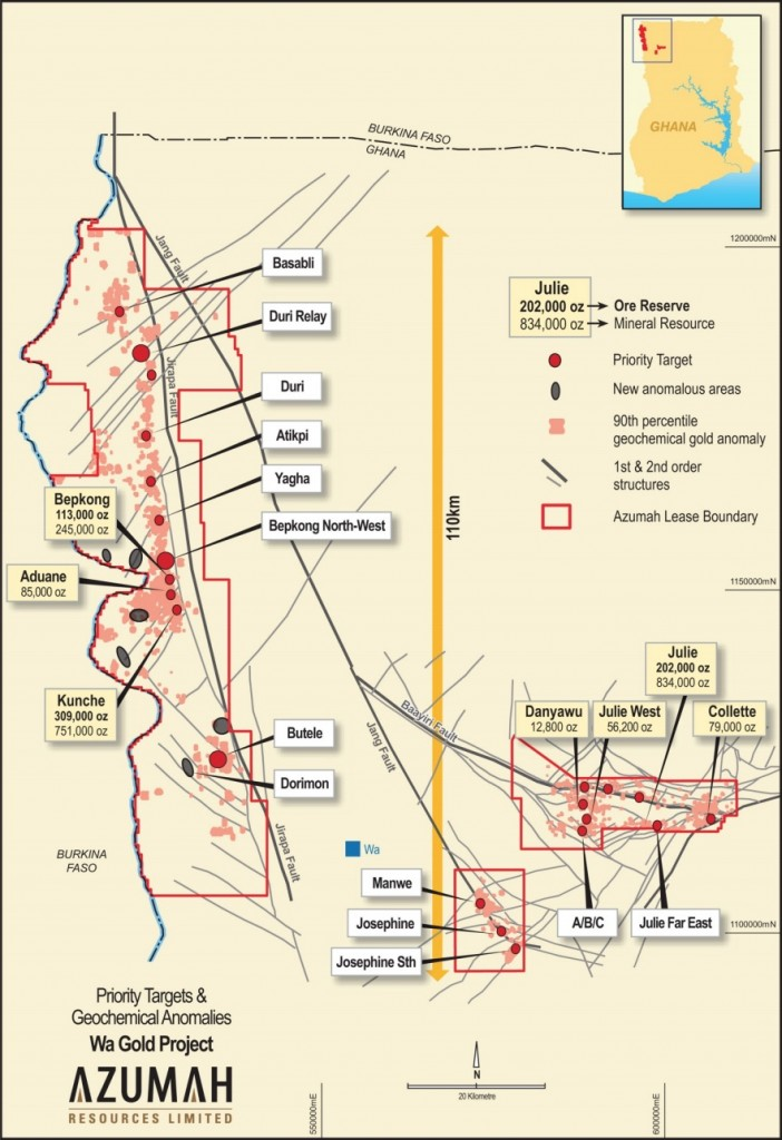 Wa Gold Project: Deposits and priority targets for 2018