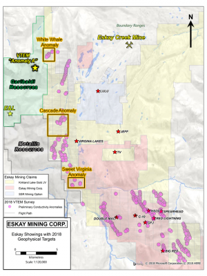 Figure 1: Eskay Mining Corp. claims with 2018 VTEM survey area and identified coincident geochemical and conductivity anomalies