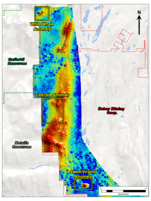 Figure 2: Colour Map of Sfz30 conductance (mid time channel response, Red = relative conductance high, blue = low) and identified anomalous zones.