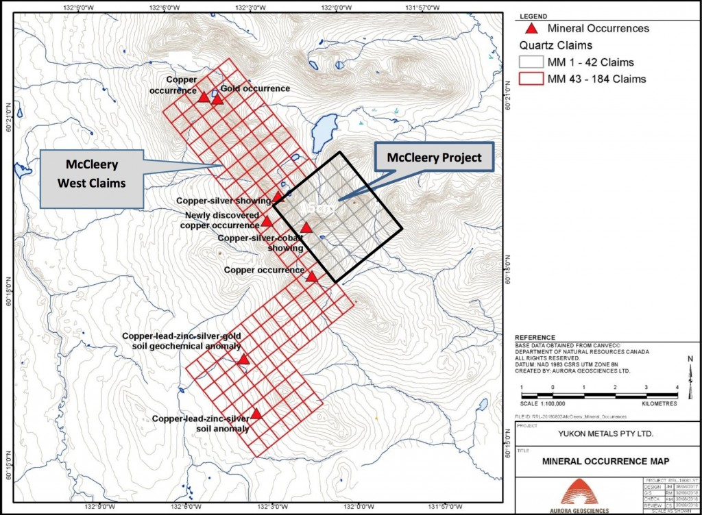 Figure 1. The McCleery project and mapped mineralisation