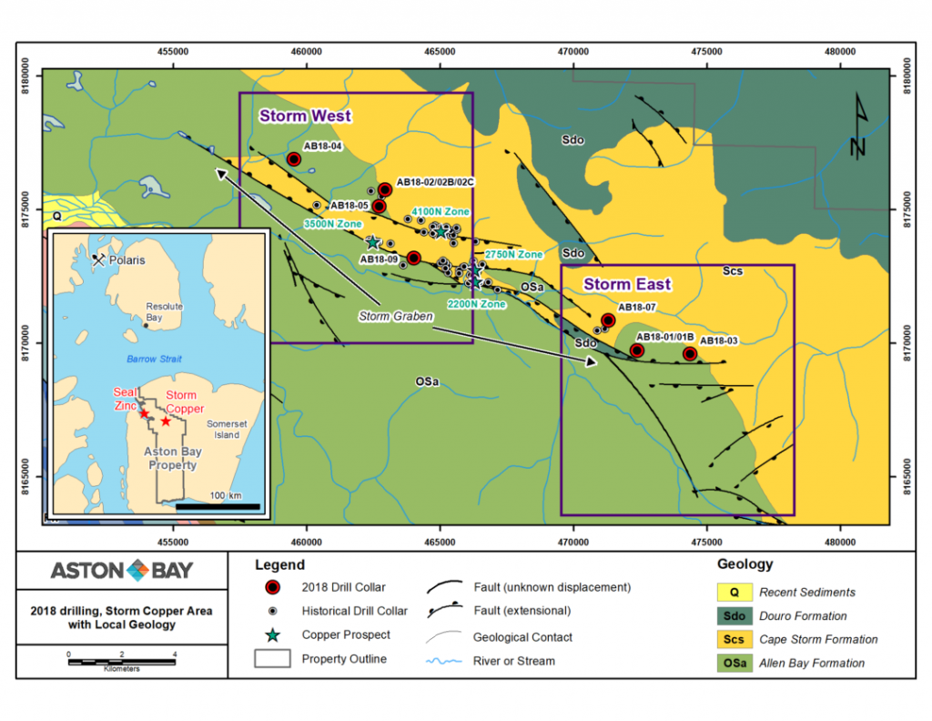 Figure 1: Storm area 2018 drill collar locations and location of detailed figures Storm West and Storm East. Inset map shows the location of Aston Bay's Seal zinc and Storm copper projects south of the Polaris mine and the community of Resolute Bay in the Polaris mining district, Nunavut.