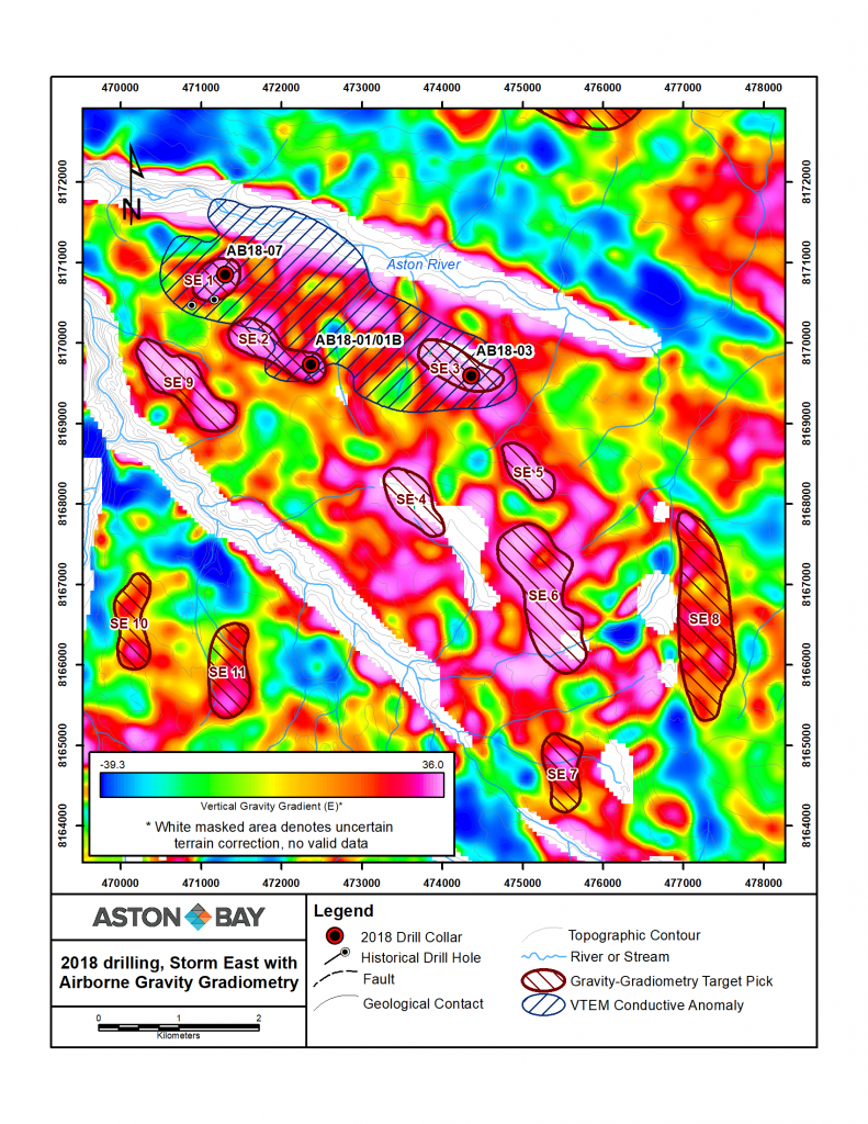 Figure 3: Storm East area: gravity targets, vertical gravity gradient, select VTEM anomalies and 2018 drill collar locations.