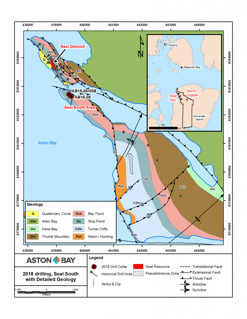 Figure 4: Geological map of Seal and Seal South areas. Inset map shows the location of Aston Bay's Seal zinc and Storm copper projects south of the Polaris mine and the community of Resolute Bay in the Polaris mining district, Nunavut.