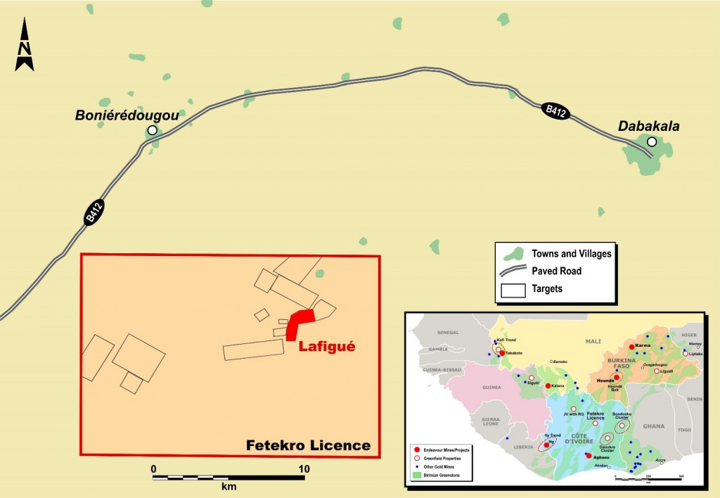 Figure 1: Simplified Map of the Fetekro Property Showing Lafigué