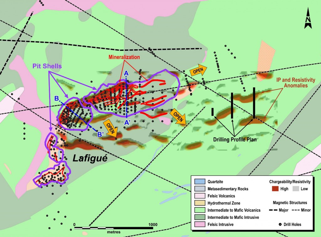 Figure 2: Lafigué Ground Geophysics and Geological Interpretation Showing Possible Extensions