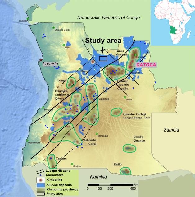 Figure 2: Kimberlite provinces of Angola and associated Lucapa rift zone