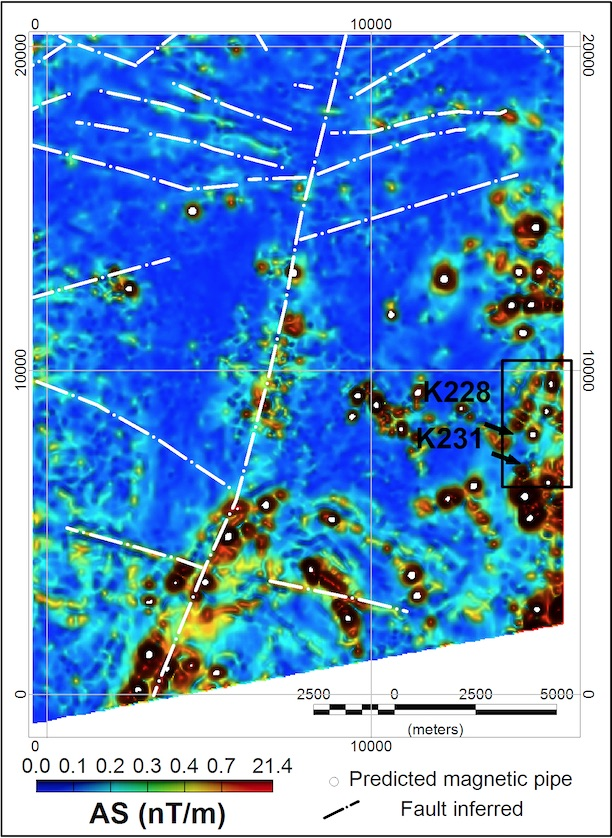 Figure 3: Predicted pipe-like magnetic structures (white dots) over the colour shaded relief of the analytic signal image