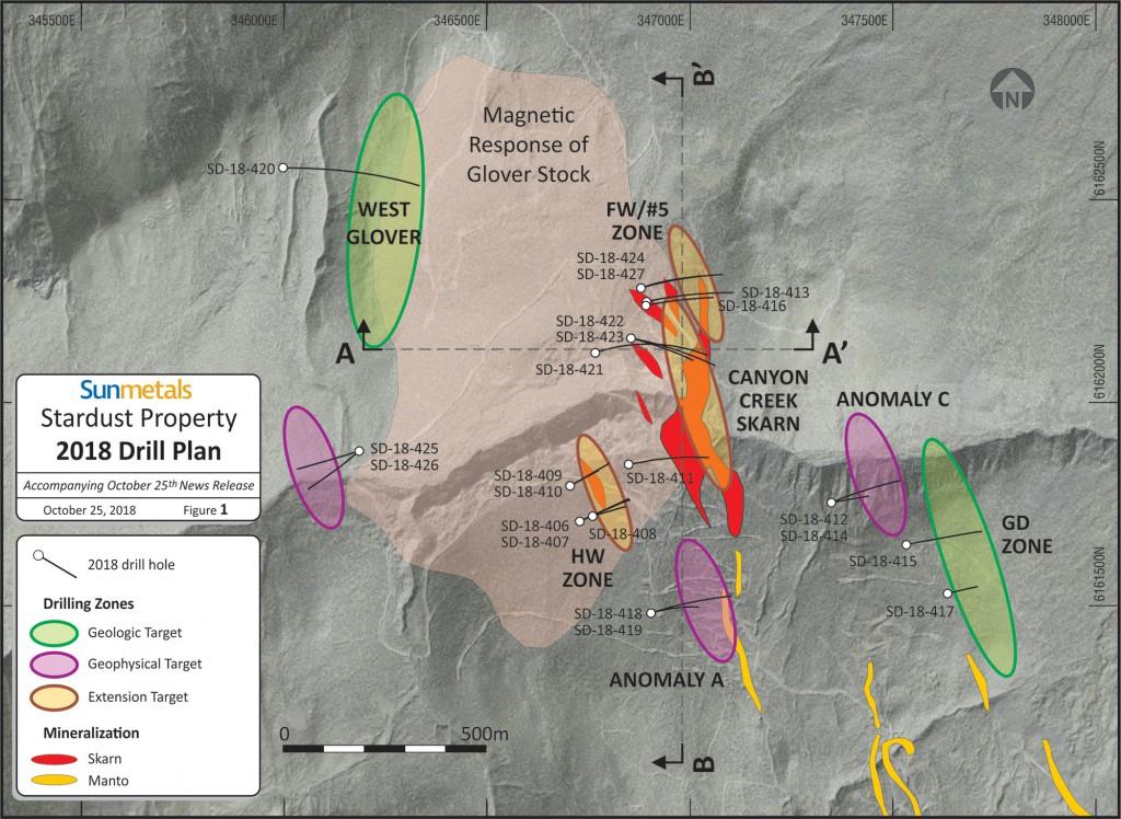 Figure 1 - Sun Metals Stardust Property 2018 Drill Plan