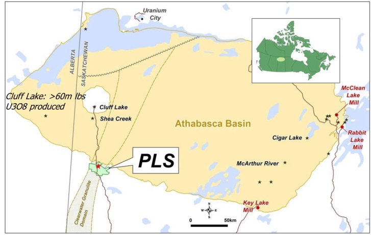 Figure 1: Patterson Lake South and Canada's Athabasca Basin, with property location in western Canada shown in inset (www.fissionuranium.com).