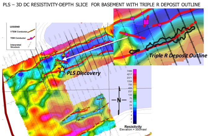 Figure 13: EM Interpretation overlain onto basement 3D resistivity-depth slice, and close-up in inset showing Triple-R deposit outline (after Bingham, 2016).