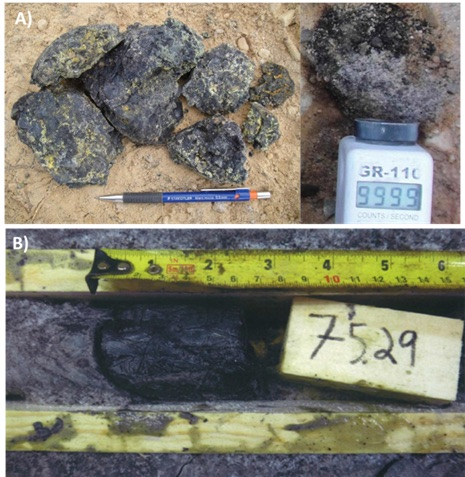 Figure 3: a) Massive Pitchblende Boulders, b) Discovery Hole PLS12-22 Massive Pitchblende (after Ainsworth et al., 2012; Bingham, 2016).