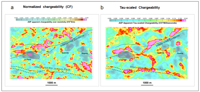 Figure 6: A clear divergence is seen between (a) the CF data and (b) the TSC data from Cerro Quema.