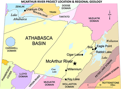 Figure 1:  Location of McArthur River Project in Athabasca Basin, northwest Saskatchewan, over regional geology (yellow = Athabasca sandstone, other colours = Basement Domains; courtesy Cameco Corp.).