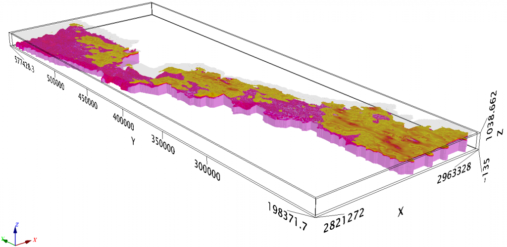 Figure 5: 3D voxel obtained from SCI inversion of VTEM data. The pink colour represents the resistivity range >110 ohm-m (corresponding to granitic basement) and the yellowish zone corresponds to the resistivity range [36-110] ohm-m over a depth range of [0-300] feet. The top layer with higher tranparency represents the surface. Vertical exaggeration=×10. The view is looking to the NE. Coordinates are in feet.