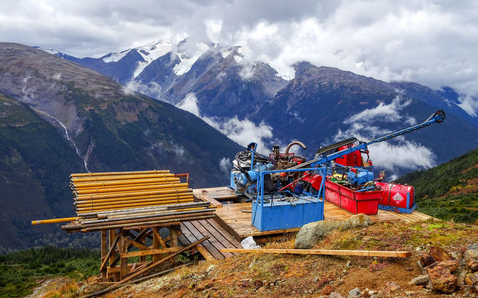A drill sets up to test higher grade gold targets a Sulphurets