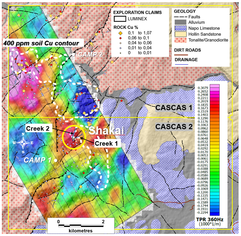Property-scale ZTEM geophysics and soil sample grid geochemistry overlain on simplified geology.